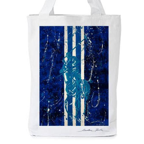 Polo at the seaside II  Print with original artwork by Caroline Rovithi (www.caroline.gr)  WHITE ORGANIC FASHION TOTE BAG  - Climate Neutral®  100% Organic Cotton Twill Weave 170 g / 5.1 oz.  ONE SIZE : Width 36 x Height 42 x Depth 8 cm   #storymood #totebags #beachbags