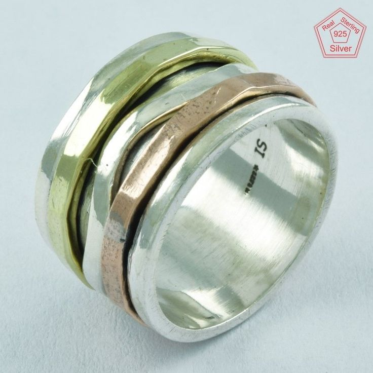 HAMMERED DESIGN PATRICK GIFT 925 STERLING SILVER SPINNER RING,R5007 #SilvexImagesIndiaPvtLtd #Spinner #AllOccasions