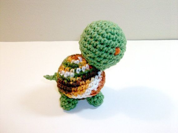 Plush Toy Turtle in Green & Orange Ombre  by CoastalCrochetCrafts
