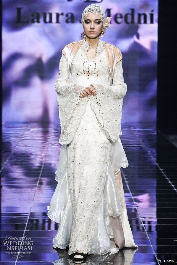 Muslim wedding dress inspiration - long sleeve bridal gown with hijab veil