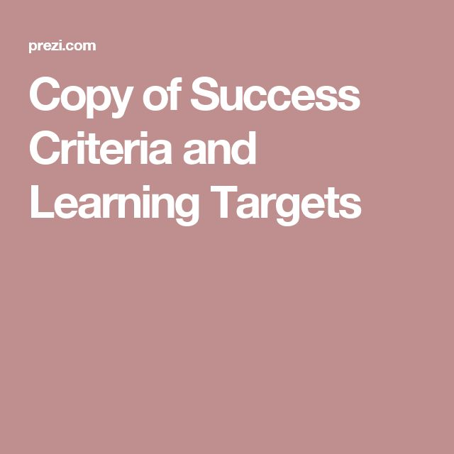Copy of Success Criteria and Learning Targets