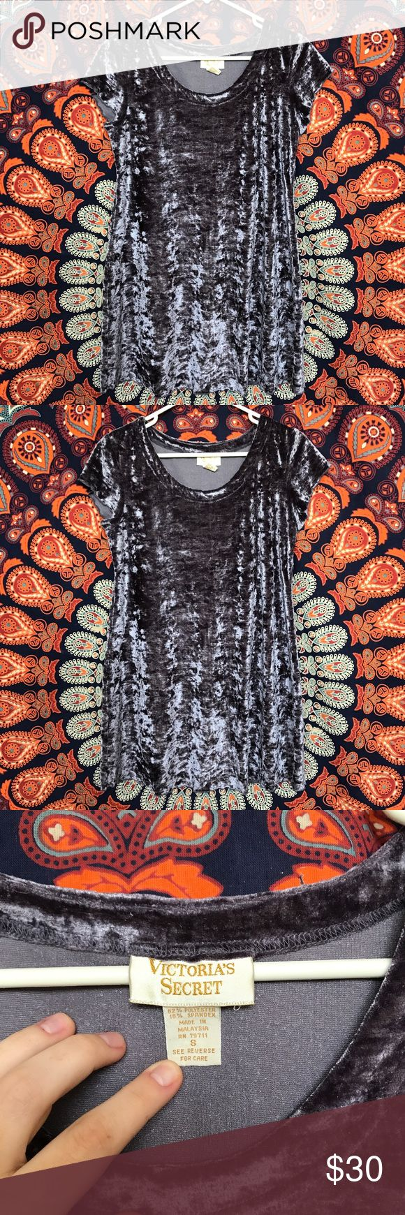 Vintage Victoria's Secret grey velvet dress Vintage gold label Victoria's Secret crushed velvet dress. The charcoal grey material is textured and even though this is vintage the velvet style is super trendy right now. Scoop neck with short cap sleeves. Flattering cut with sides that go inwards at the waist, defining the hips. Size small  Victoria Victorias Vs nightie nighty pjs pajamas nightgown night gown babydoll baby doll soft velvety neckline skater fit fitted form shape cap sleeved…