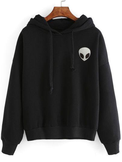 Sweat-shirt imprimé alien avec capuche - noir