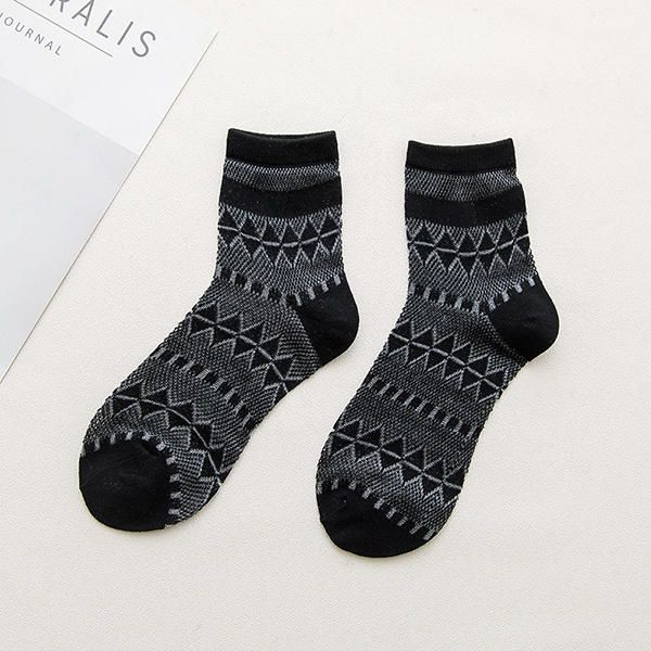 Women Mesh Harajuku Rhombus Breathable Middle Tube Socks at Banggood