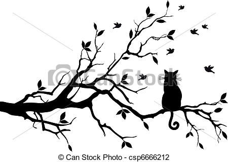 Vector - cat on a tree with birds, vector - stock illustration, royalty free illustrations, stock clip art icon, stock clipart icons, logo, line art, EPS picture, pictures, graphic, graphics, drawing, drawings, vector image, artwork, EPS vector art