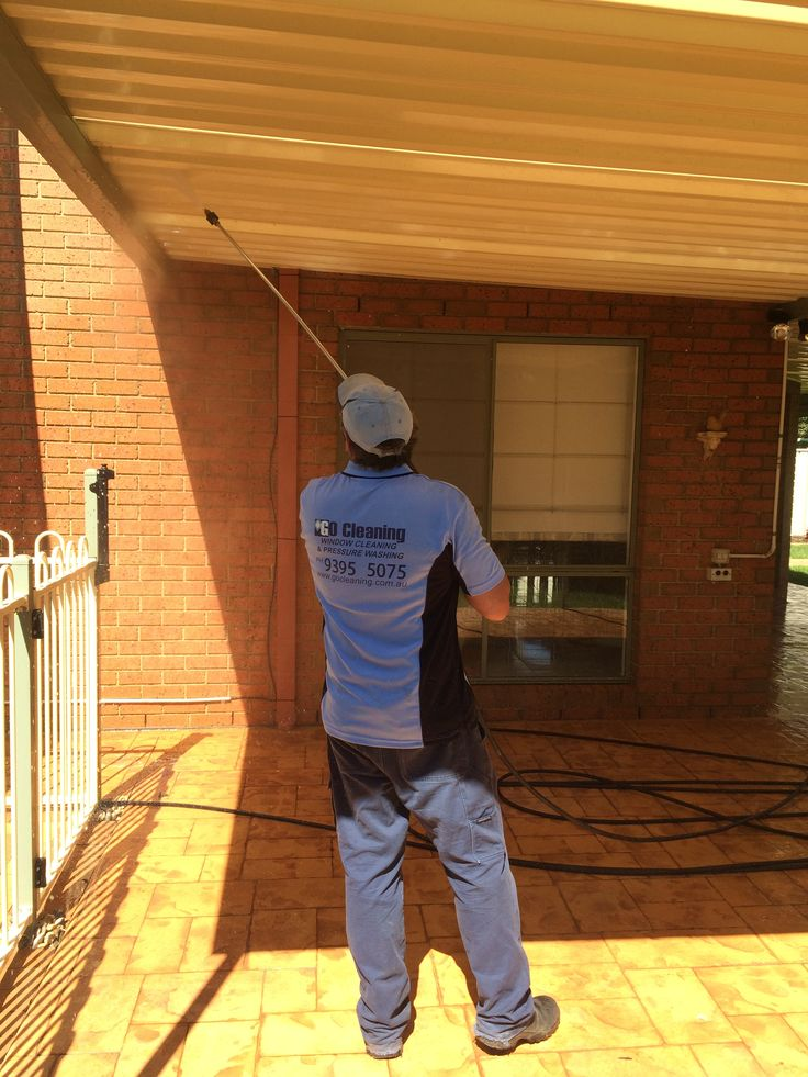 Here we are using hot water to clean powder coated veranda, the hot water ensures all the stains are removed as well as the dirt and dust.