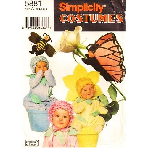 items similar to toddler costume pattern simplicity 7868 butterfly bee flower costume baby photo prop toddler sewing pattern size to 4 uncut on etsy - Baby Halloween Costume Patterns