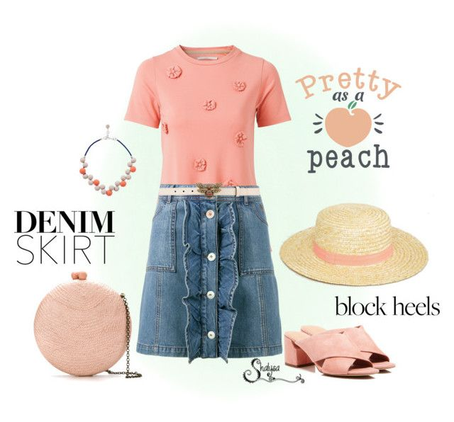 """""""Pretty as a Peach"""" by shalysa ❤ liked on Polyvore featuring Ganni, Serpui, South Beach, Sigerson Morrison and Gucci"""