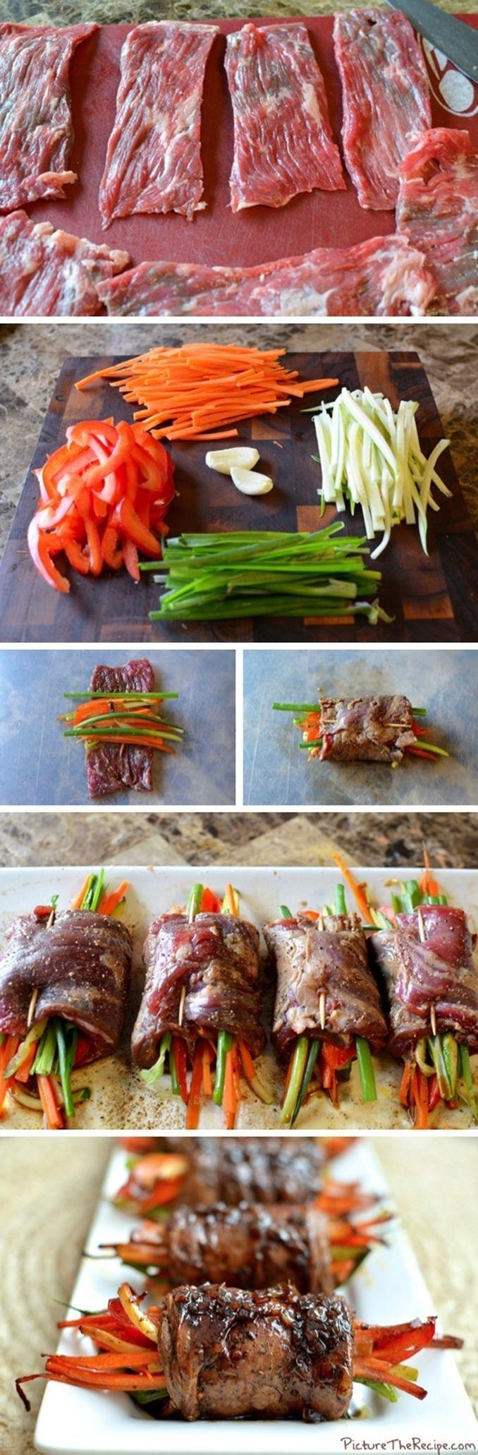 en partant de cette image comme inspiration, j'ai d'abord fait mariner mes steaks, pour ensuite, déposer au centre de la julienne de : carotte, pied de brocoli, courgettes, piment et oignon. La prochaine fois, j'ajoute aussi du fromage.