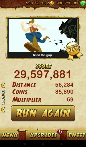 My high score in temple run 2.......can anyone beat that?????