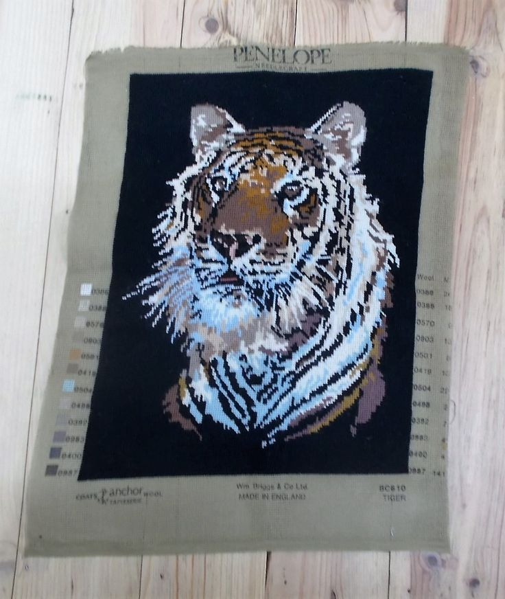 Tiger Wall Tapestry, Penelope Needlepoint canvas, Hanging Tapestries, Completed Finished pictures, canvasses of animals, made in UK,complete by TreasuredTapestries on Etsy