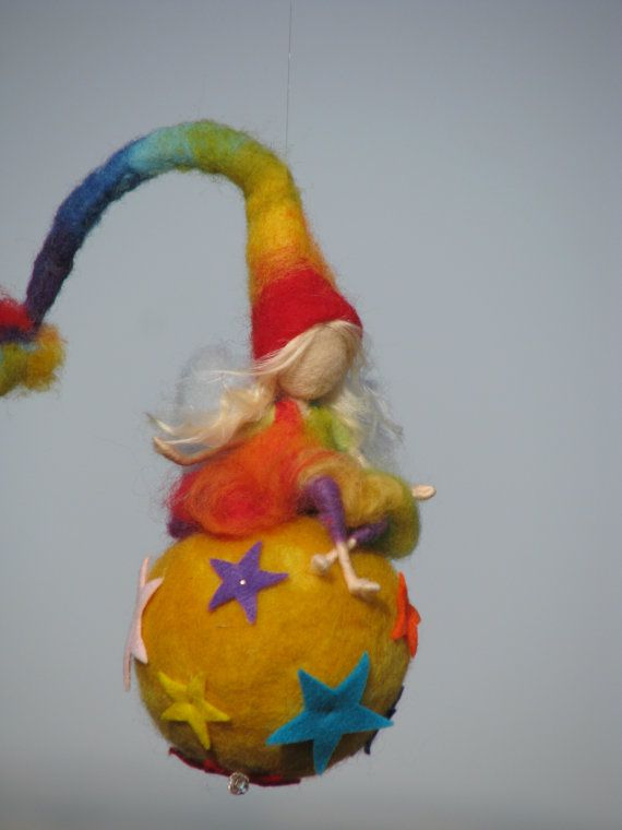 Waldorf inspired needle felted nursery mobile Rainbow fairy sitting on a star