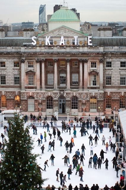 Winter skating, Somerset House, London.