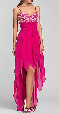 A-line Spaghetti Straps Asymmetrical Chiffon Cocktail/Prom Dress