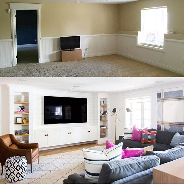 New House Living Room Ideas Part - 34: Before/After Of The Basement. Crazy, Right? Find This Pin And More On Living  Room Ideas ...