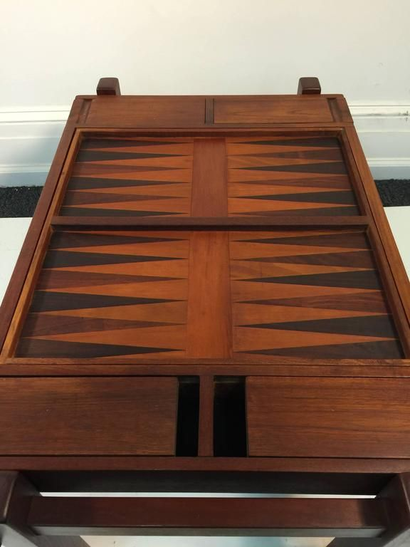 Fantastic Danish Modern Rosewood and Teak Game Table; Backgammon and Chess For Sale at 1stdibs