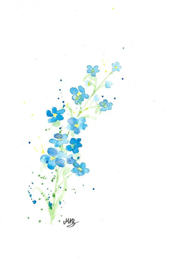 Watercolour Forget Me Not Print Wit Custom Quote Floral Art Print