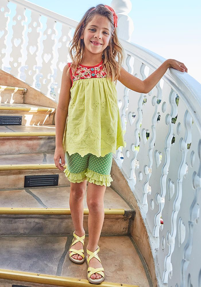 bc8b9088faf0 Cross Country Shortie - Matilda Jane Clothing -These sweet green  polka-dotted shorts are ready for summer fun!  summerstyle  girlmom   kidsfashion   ...
