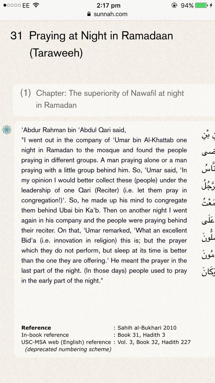 Bukhari: 'Umar admits Taraweeh is Bid'ah