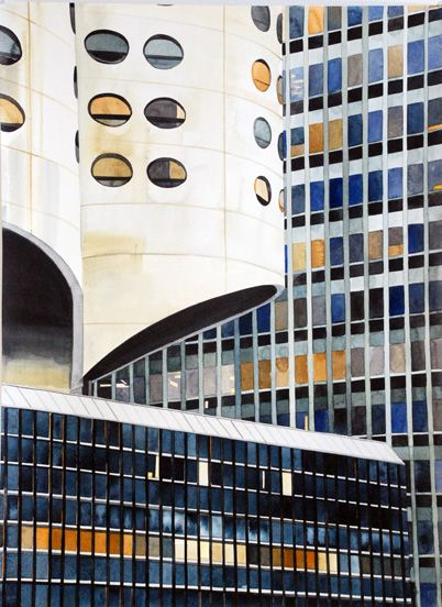 three Chicago buildings by Amy Park  (2011)Watercolor Painting, Amy Parks, Art, Parks 2011, Watercolors Painting