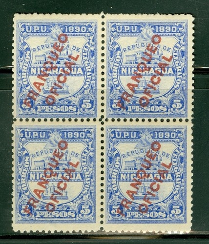 Nicaragua Selections II: Scott #O9 MVLH 5P Block of 4 FRANQUEO OFICIAL