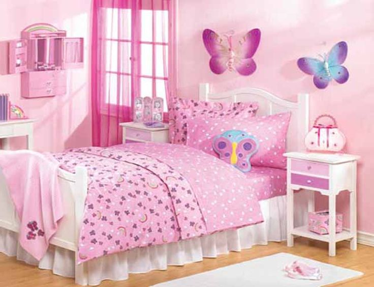 Bedroom Decorating Ideas for Girls with Pink Single Beds and Pink Wall using Decorating Butterfly also Glass Door complete Pink Curtained that have Small White Wooden Table Ideas in Room
