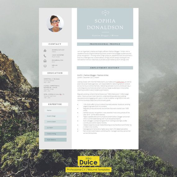 CV Template  Resume Template  CV Design  Cover by introDuice