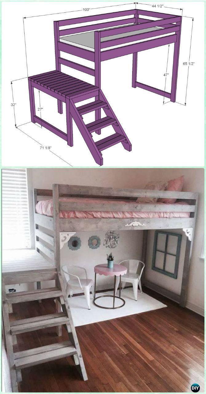 needs a bigger platform                    DIY Camp Loft Bed with Stair Instructions-DIY Kids Bunk Bed Free Plans #Furniture #WoodworkingPlansBed