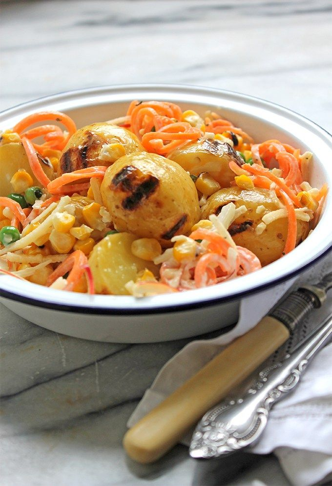 Brazilian Gaucho Potato Salad | Veggie Desserts Blog This vegetarian Brazilian gaucho potato salad brings together the best late summer flavours – from baby gem potatoes and grilled sweetcorn, to peas, carrots and apples – all in one delicious dish.