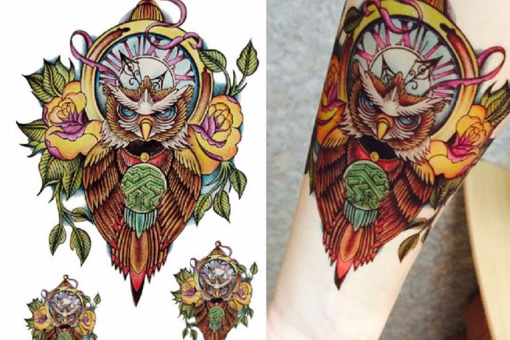 Large Owl Temporary Tattoo Arm Sleeve *** Listing is for one sheet of high quality tattoo which lasts about 2 days up to a week*** *** Tattoo sheet includes 1 large owl & 2 small owls *** What is the