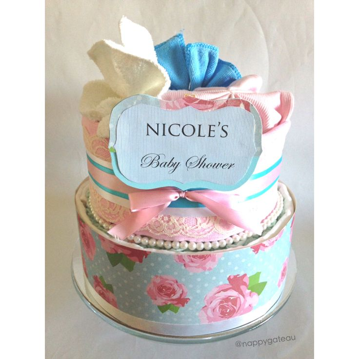 shabby chic 'pink or blue?' nappy cake