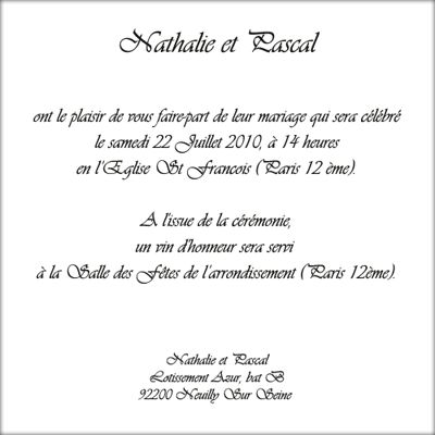 Lettre absence invitation mariage