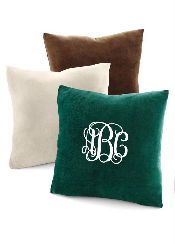 Personalized Embroidered Throw Pillows : Monogrammed Velvet Pillow. Personalized Home Decor. Embroidered Pillow. Decorative Pillow Cover ...