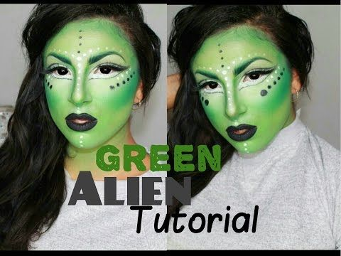 Green Alien Halloween Tutorial | Makeup By Leyla - YouTube