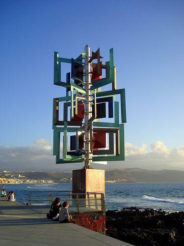 Wind sculpture by Cesar Manrique, Las Canteras Beach, Las Palmas de Gran Canaria.