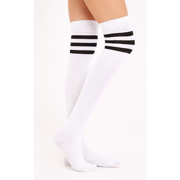 Black & White Striped Over The Knee Socks (5 PAB) ❤ liked on Polyvore featuring intimates, hosiery, socks, black, striped over the knee socks, stripe socks, striped sport socks, above knee socks and striped sports socks