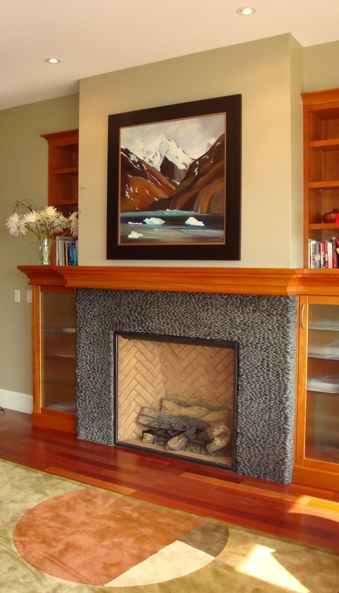 75 best Fireplaces - Pebble and Stone Tile images on Pinterest
