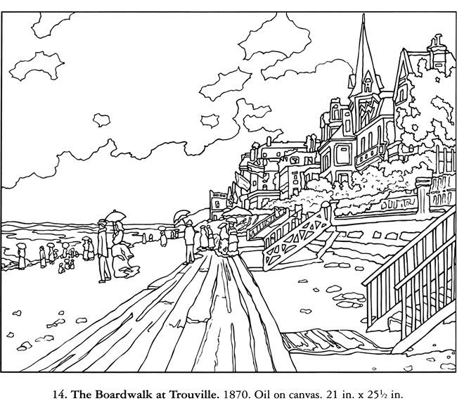 coloring page of the boardwalk at trouville claude monet - Monet Coloring Pages Water Lilies