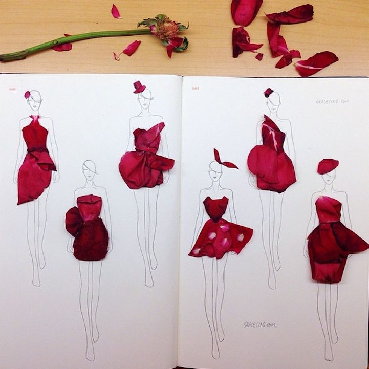 Fashion Illustration Using Flower Petals - Grace Ciao