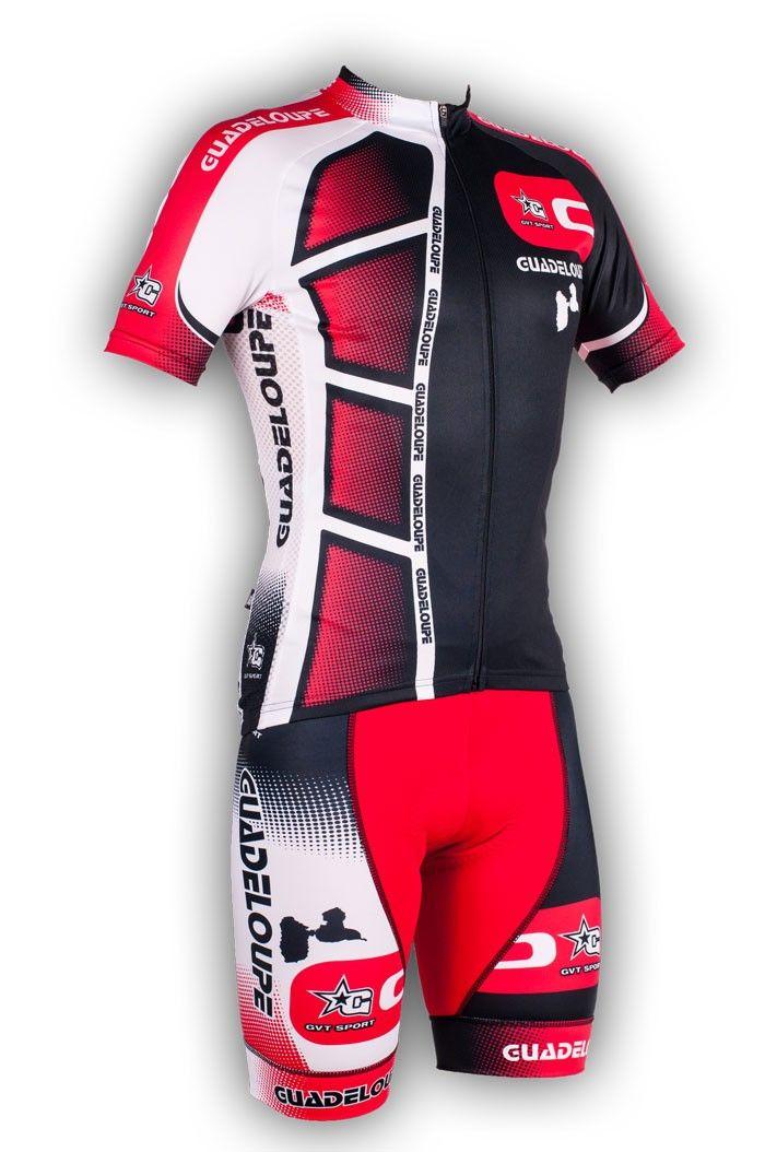 Gvt Guadeloupe rouge - Maillot et cuissard cycliste homme en édition limitée