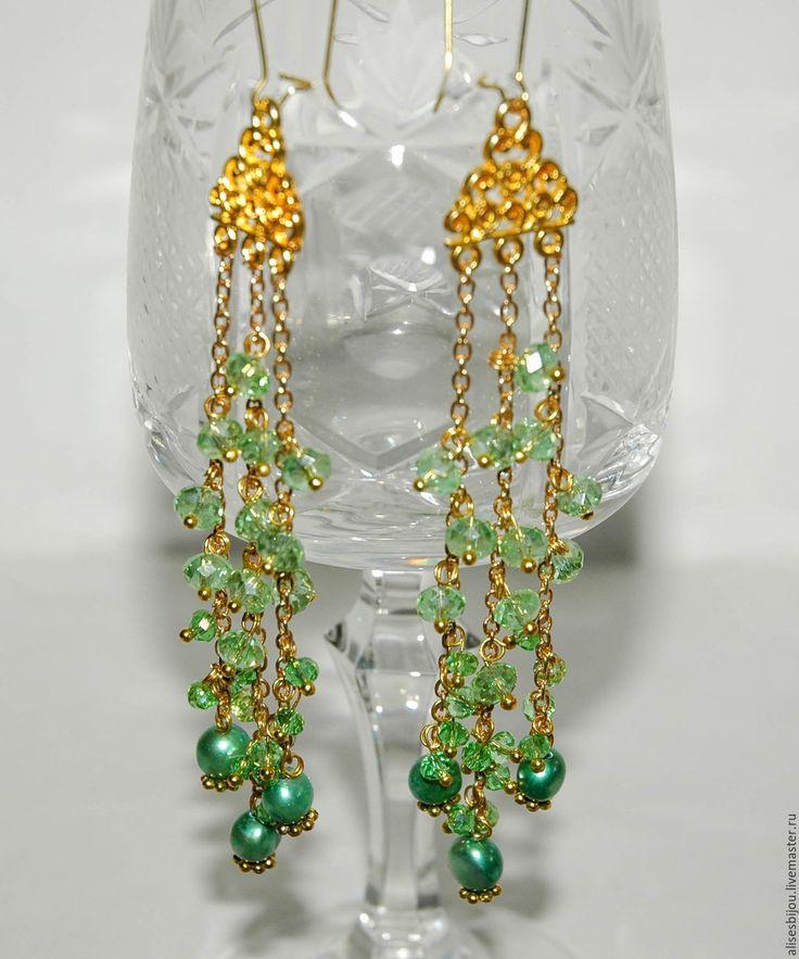 Купить Серьги длинные с жемчугом - зеленый, серьги, серьги длинные, серьги с подвесками, серьги с жемчугом