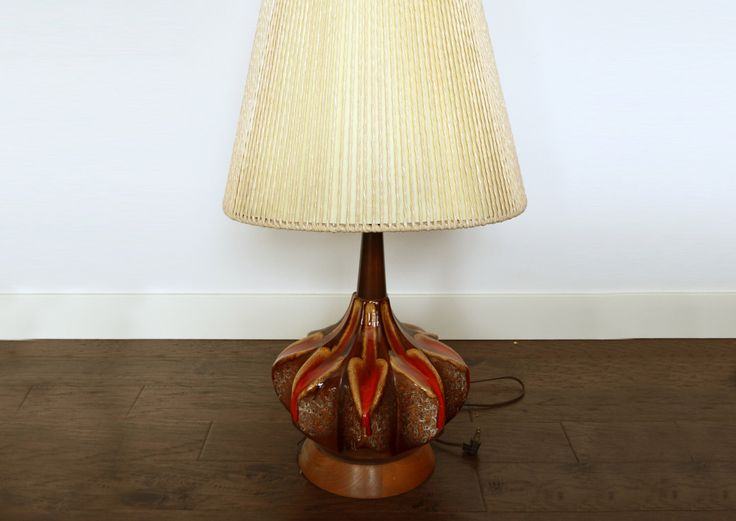Massive maurice chalvignac table lamp fat lava glaze eames era with original twine encased shade
