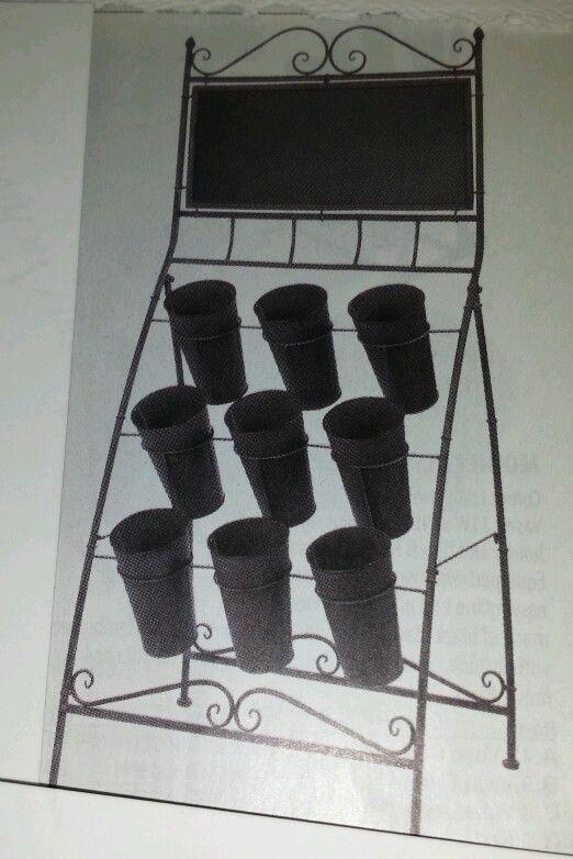 Folding Floral Stand W/ Chalkboard 9 vases Grey New Flower Holder Display Rack