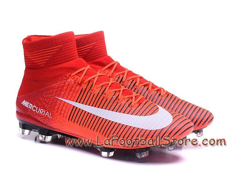 Nike Mercurial Superfly V FG Chaussure Nike mercurial Pas Cher de football à crampons pour terrain sec pour Femme/Enfant Rouge/Blanc