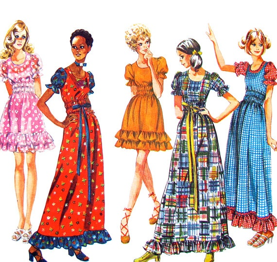 70s Boho Peasant Dress Vintage Pattern Simplicity 9403 Maxi or Mini Bust 32 1/2. $10.25, via Etsy.