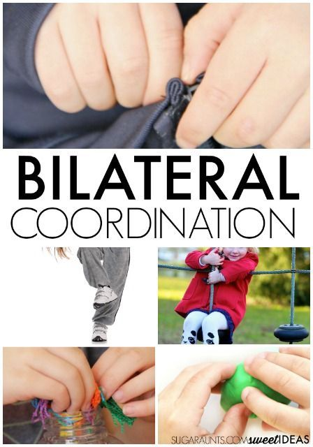 Bilateral coordination activities to help kids develop and build the skills needed for symmetrical coordination activities, alternating arm and leg movements, and hand dominance activities.