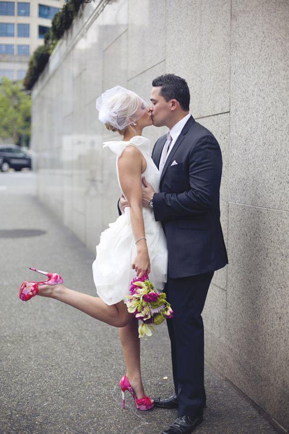 af02704e3e Classic Mini Short Wedding Dress, One Shoulder Short Wedding Dresses,  Ruffle organza Bridal Dress by Miss Zhu Bridal, $157.61 USD