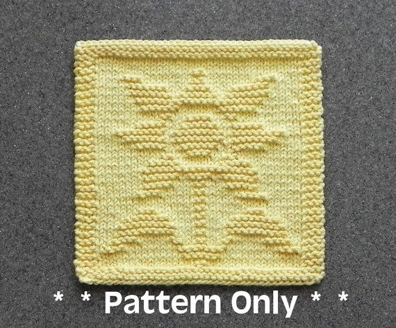 SUNFLOWER Dishcloth Pattern - PDF Instant Download - Knit Wash Cloth Pattern - Knitted Dishcloth Pattern ~ Easy Knit Patterns