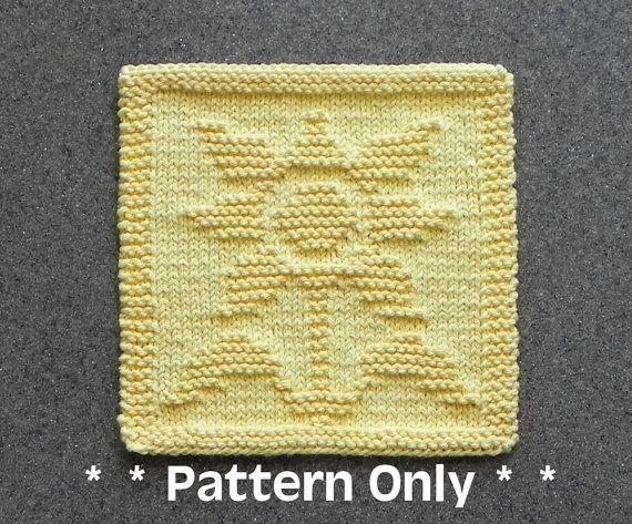 SUNFLOWER Dishcloth Pattern - PDF Instant Download - Knit Wash Cloth Pattern - Knitted Dishcloth Pattern ~ Easy Knit Patterns