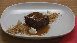 Chocolate Brownie with Walnut Crumb and Salted Caramel Sauce